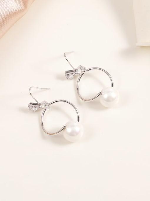 Lin Liang Brass Imitation Pearl White Irregular Minimalist Hook Earring 0