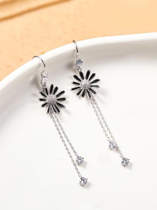 Lin Liang Brass Cubic Zirconia White Enamel Tassel Dainty Drop Earring