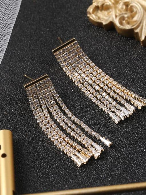 Gold Brass Cubic Zirconia White Tassel Classic Drop Earring