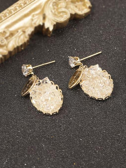 Gold Brass Cubic Zirconia White Oval Minimalist Drop Earring