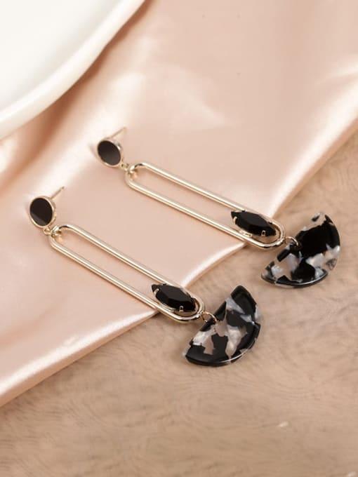 Lin Liang Brass Cubic Zirconia Black Plastic Geometric Dainty Drop Earring 0