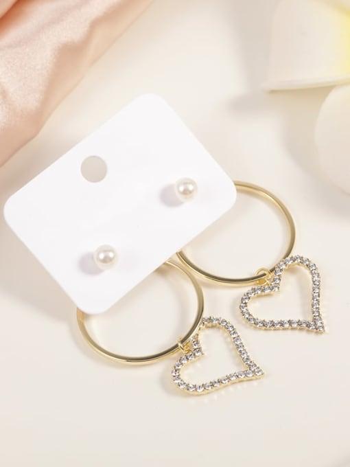 Gold Brass Cubic Zirconia White Round Minimalist Drop Earring