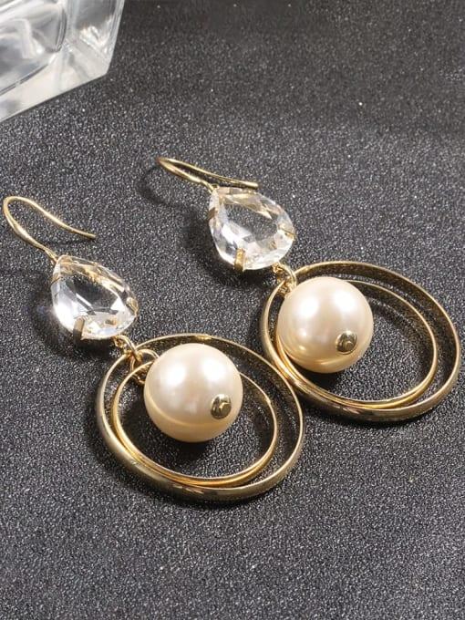 Lin Liang Brass Imitation Pearl White Tassel Dainty Drop Earring