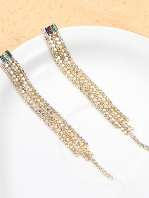 Lin Liang Brass Cubic Zirconia White Tassel Classic Drop Earring 0