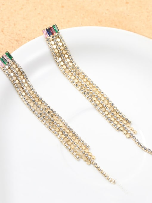 Lin Liang Brass Cubic Zirconia White Tassel Classic Drop Earring