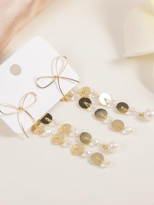 Gold Brass Imitation Pearl White Tassel Dainty Drop Earring