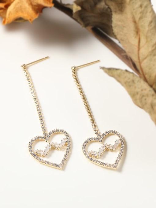 Heart gold Brass Cubic Zirconia White Irregular Minimalist Drop Earring
