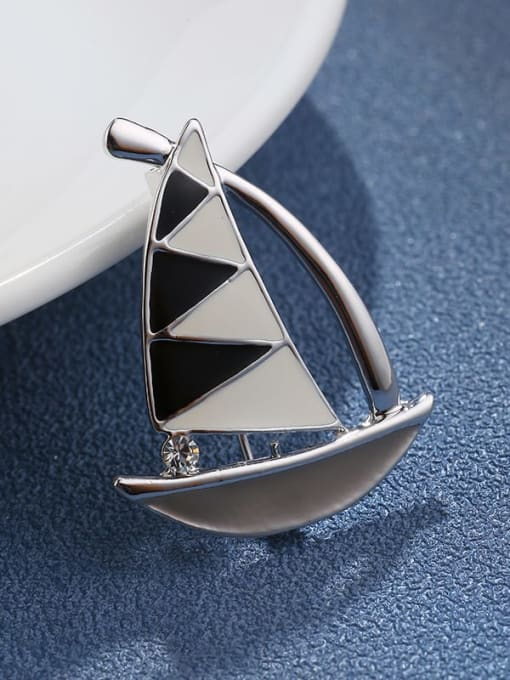 Sails Brass Enamel Feather Dainty Brooch