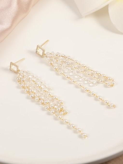 Gold White Minimalist Drop Earring