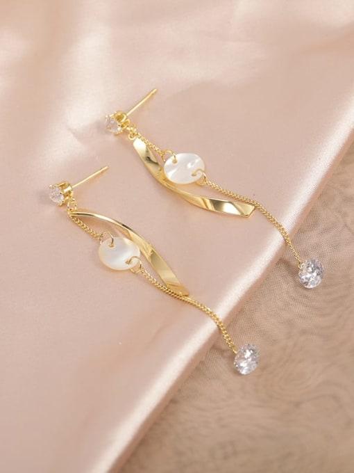 Gold Brass Cubic Zirconia White Irregular Dainty Drop Earring