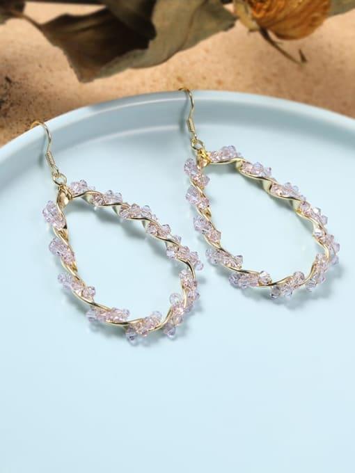 Lin Liang Brass Rhinestone Purple Cone Minimalist Drop Earring