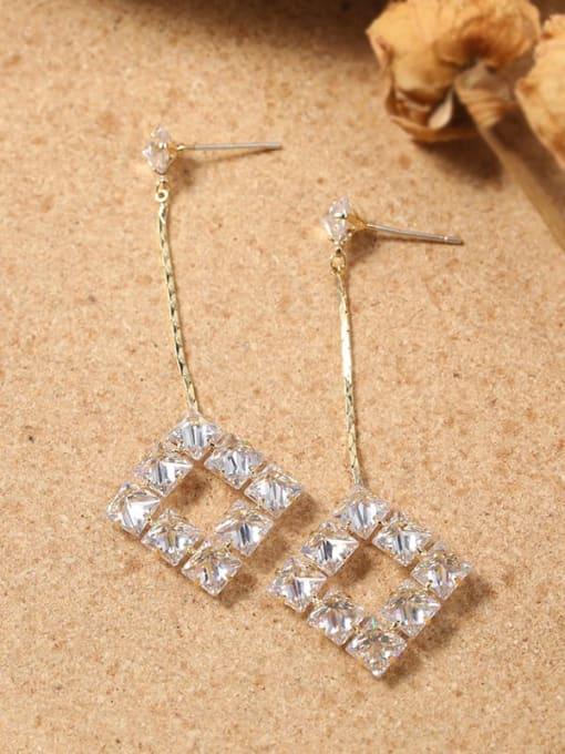 Lin Liang Brass Cubic Zirconia White Irregular Dainty Drop Earring