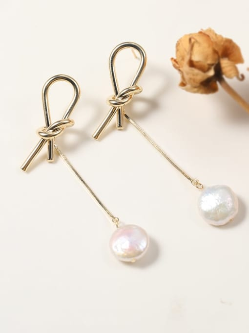 Lin Liang Brass Freshwater Pearl White Tassel Classic Drop Earring