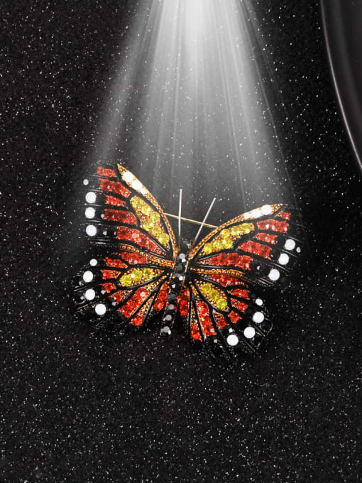 Lin Liang Alloy Rhinestone Multi Color Enamel Butterfly Dainty Brooch