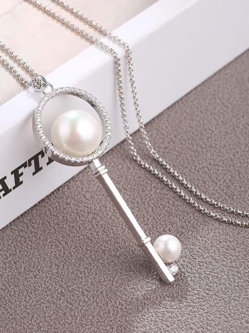 White Brass Cubic Zirconia White Key Minimalist Long Strand Necklace