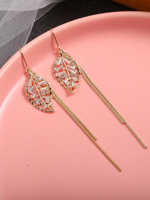 Lin Liang Brass Cubic Zirconia White Tassel Dainty Drop Earring