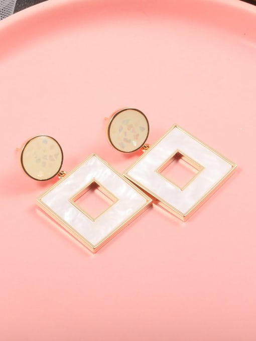 Lin Liang Brass Resin White Square Dainty Drop Earring 0