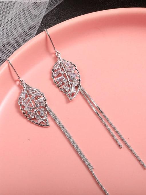 Lin Liang Brass Cubic Zirconia White Tassel Dainty Drop Earring 1