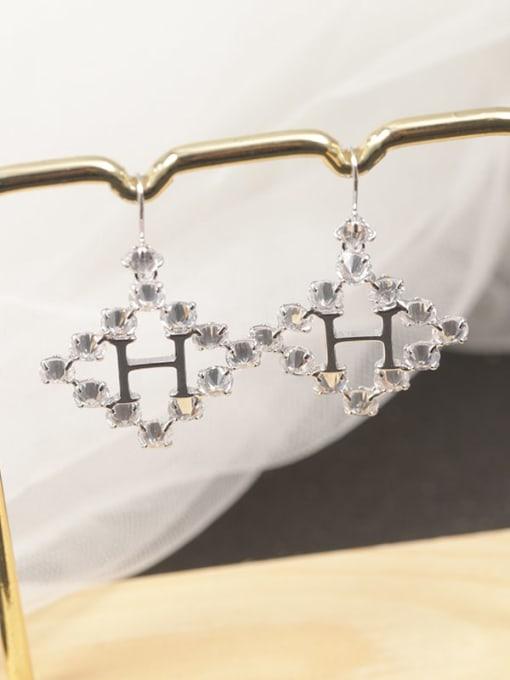 White Brass Cubic Zirconia White Letter Minimalist Drop Earring