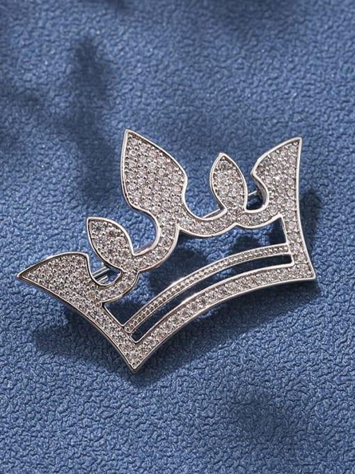 White Brass Cubic Zirconia White Crown Minimalist Brooch
