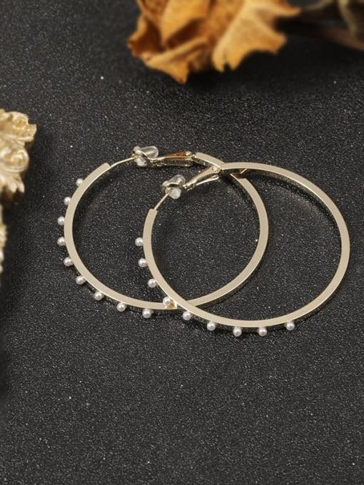 Gold Brass Imitation Pearl White Round Minimalist Hoop Earring