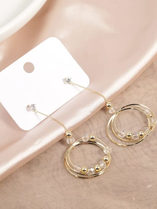 Gold Brass Crystal Clear Round Minimalist Drop Earring