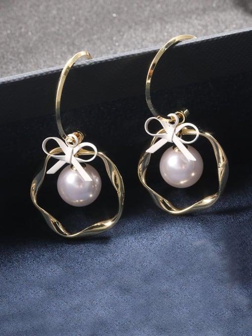 Lin Liang Brass Cubic Zirconia White Bowknot Dainty Drop Earring