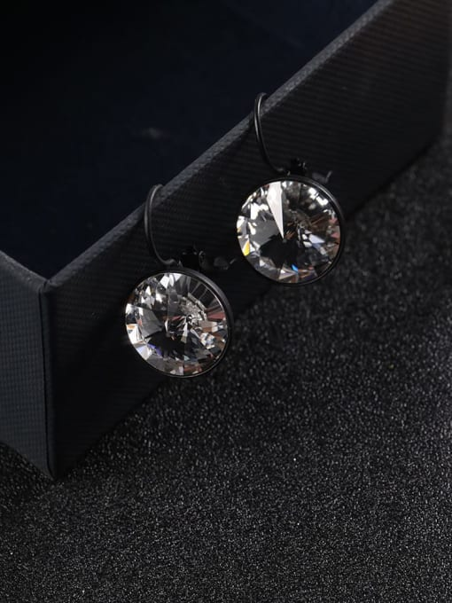 Lin Liang Brass Cubic Zirconia White Round Statement Drop Earring 0