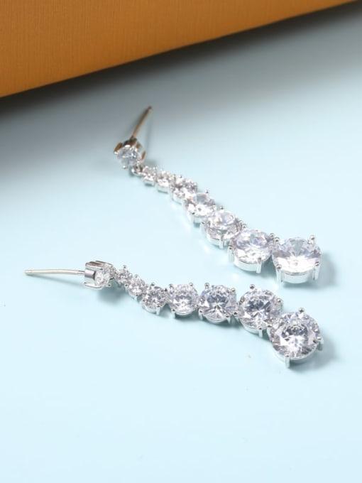 Lin Liang Brass Cubic Zirconia White Irregular Dainty Drop Earring 0
