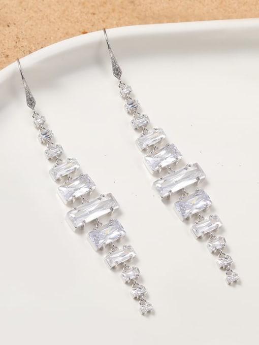 Lin Liang Brass Cubic Zirconia White Tassel Minimalist Cluster Earring