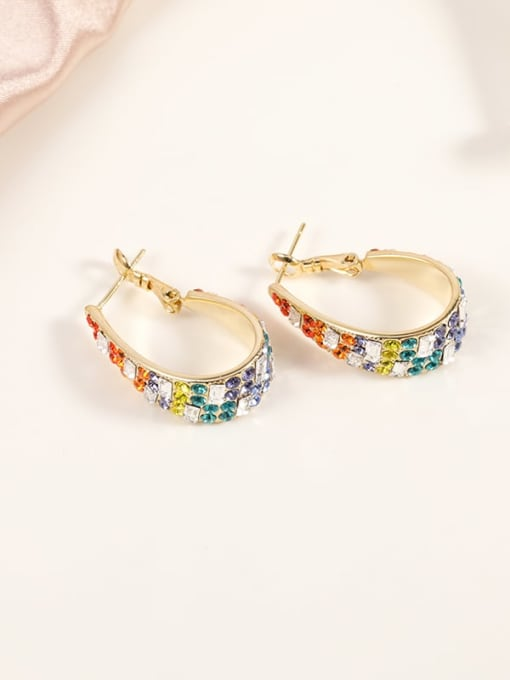 Gold Brass Cubic Zirconia Multi Color Irregular Dainty Huggie Earring