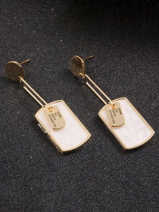 Lin Liang Brass Resin White Irregular Dainty Drop Earring 0