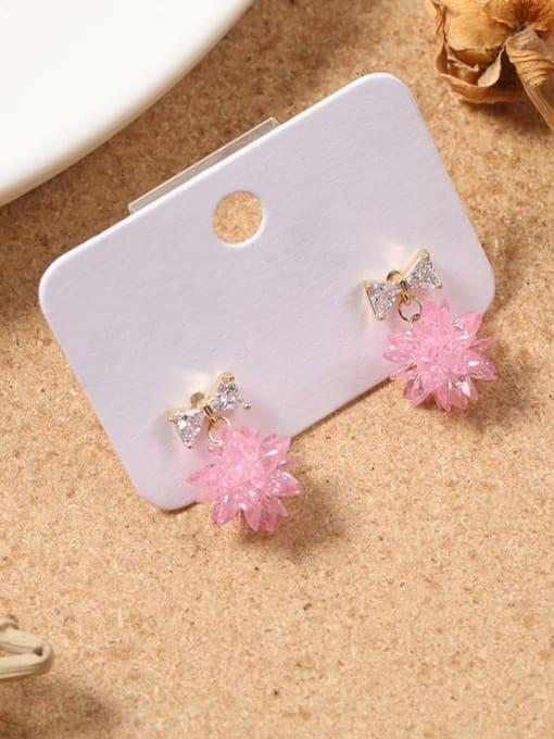 Lin Liang Brass Cubic Zirconia White Bowknot Dainty Drop Earring 0