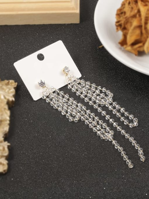 Lin Liang Brass Cubic Zirconia White Tassel Classic Stud Earring 0
