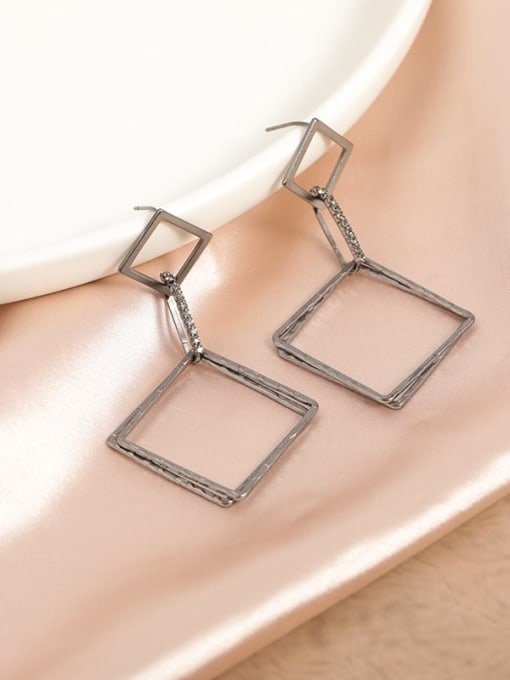 Lin Liang Brass Cubic Zirconia Gray Square Minimalist Drop Earring 0