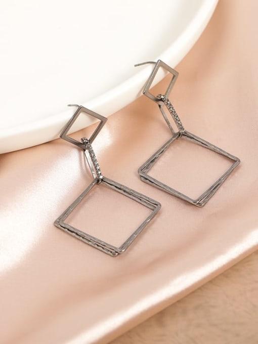 Lin Liang Brass Cubic Zirconia Gray Square Minimalist Drop Earring