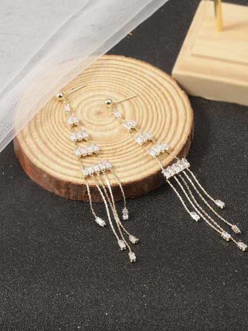 Lin Liang Brass Cubic Zirconia White Tassel Classic Stud Earring 1