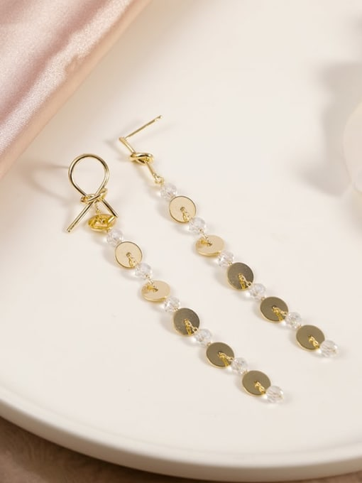 Lin Liang Brass Crystal Clear Geometric Minimalist Drop Earring 0