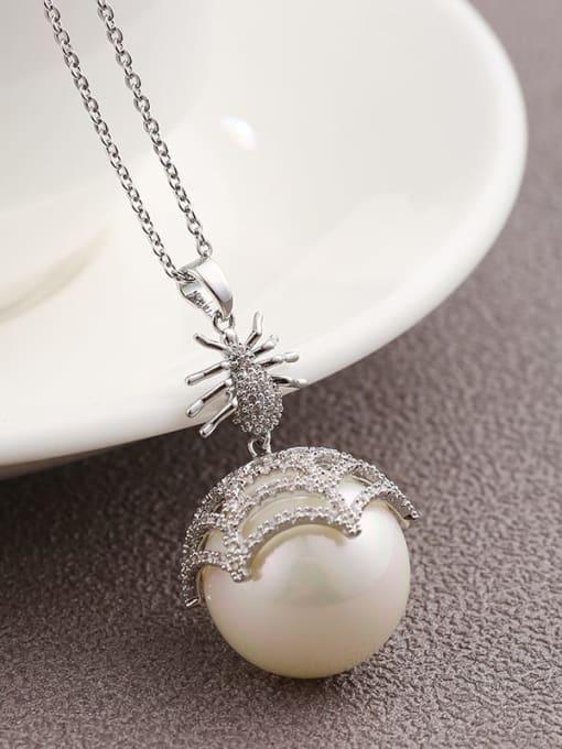 White Brass Cubic Zirconia White Round Minimalist Long Strand Necklace