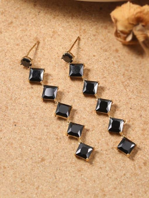 Lin Liang Brass Cubic Zirconia Black Tassel Classic Drop Earring 0