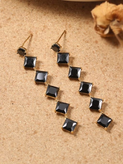 Lin Liang Brass Cubic Zirconia Black Tassel Classic Drop Earring