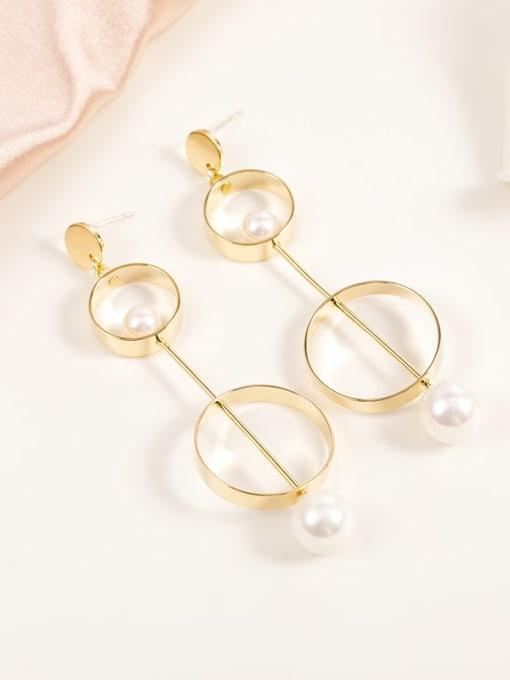 Gold Brass Imitation Pearl White Round Minimalist Drop Earring