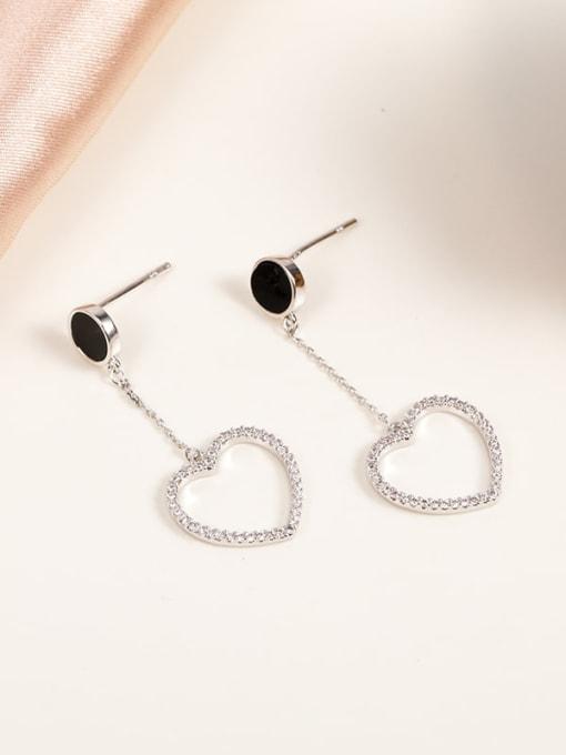 White Brass Cubic Zirconia Black Heart Minimalist Drop Earring