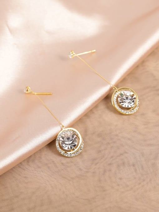 Gold Brass Cubic Zirconia White Round Classic Drop Earring