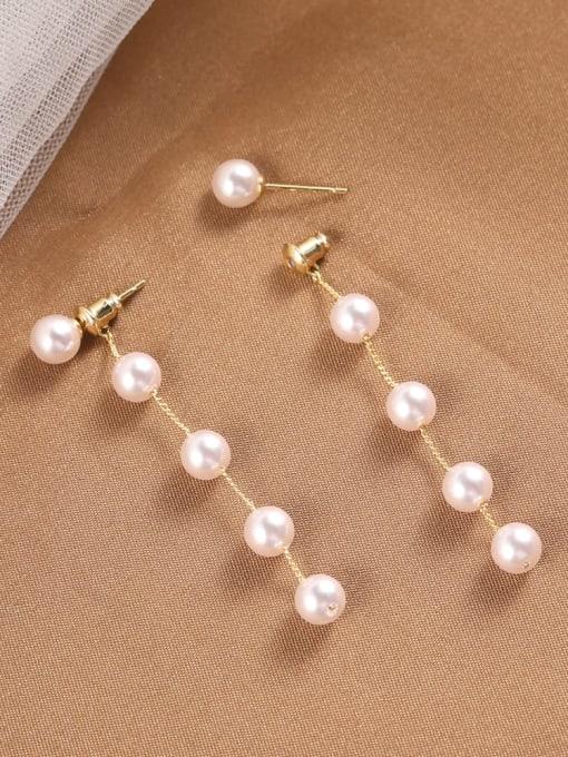 Lin Liang Brass Imitation Pearl White Tassel Dainty Drop Earring 0