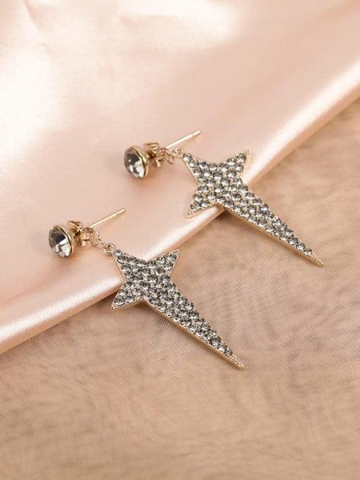 Coffee gold Brass Cubic Zirconia White Star Minimalist Stud Earring