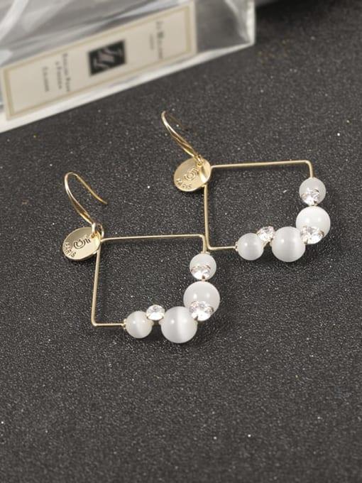 Gold Brass Cats Eye Gray Geometric Classic Drop Earring