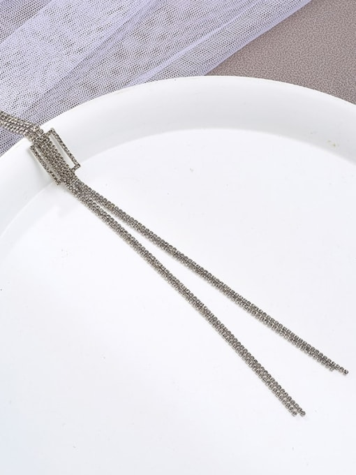 Kajin Brass Cubic Zirconia Brown Geometric Minimalist Long Strand Necklace