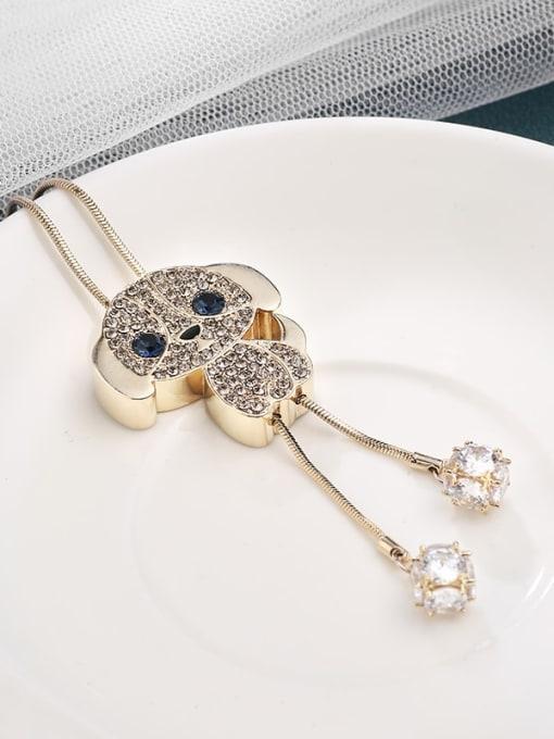 Kajin Brass Cubic Zirconia Brown Dog Minimalist Long Strand Necklace