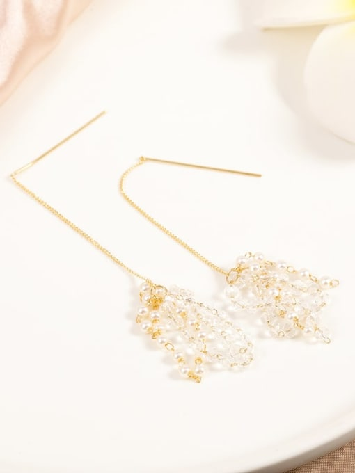 Lin Liang Brass Imitation Pearl White Tassel Minimalist Drop Earring 0